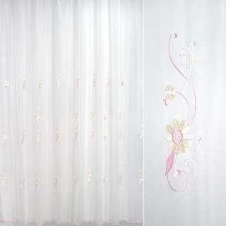 Вуаль белая с вышивкой розовыми и желтыми цветами оптом