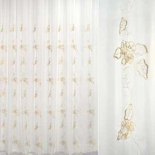 Вуаль молочная с вышивкой бежевые цветы и листья оптом
