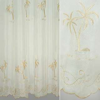 Вуаль  молочная  с  бежевой  пальмой оптом