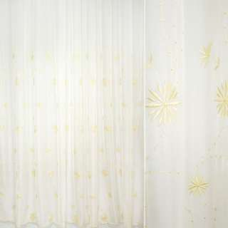 Гардина  вуаль  выш.  желтые  цветы оптом