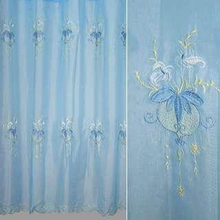 Вуаль  с  вышивкой  голубая  рис.  цветы оптом