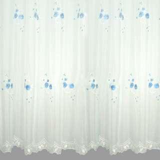 Вуаль  белая  с  вышивкой  бледно  голубой оптом
