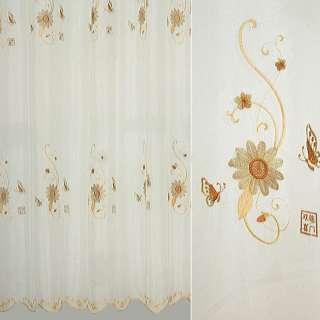 Вуаль вышитая молочная с бежево-коричневыми цветами и бабочками ш.280 оптом