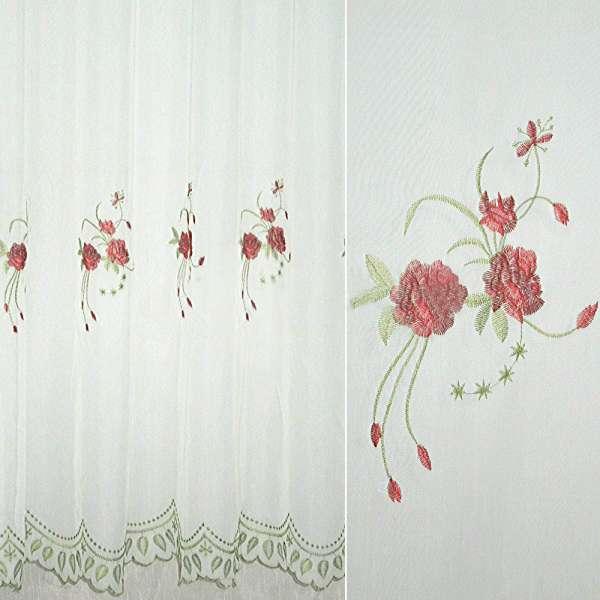 Вуаль  белая  с  вышитыми  красн.  цветами оптом
