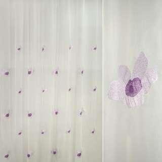 Вуаль креш с вышитыми фиолетовыми цветками ш 280 оптом