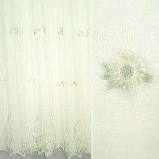 Вуаль  креш  молочная  с  вышев желтые  цветы ш 280 оптом