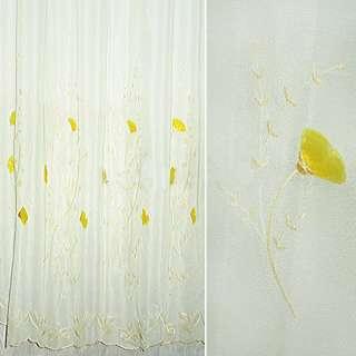 Вуаль  кремовая  с  желт.  вышив. и  нашит. цветами оптом