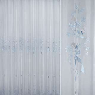 Вуаль  вышитая  с  голубыми  розочками ш 280 оптом