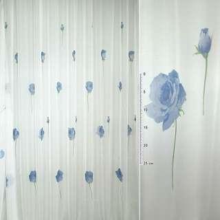 вуаль белая с синими цветами ш.275 оптом