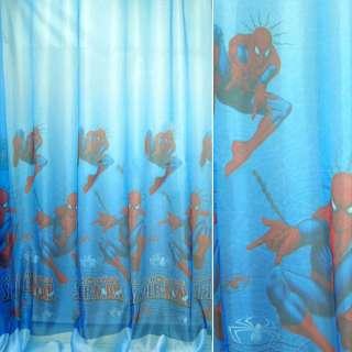 """вуаль сине-голубая  """"человек-паук"""" ш.280 оптом"""