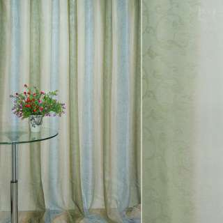 """Вуаль бежево-зелен полос """"радуга"""" с лазерным рисунком ш.270 оптом"""
