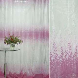 Органза Деваре белая с розовым купоном веточки ш.275 оптом
