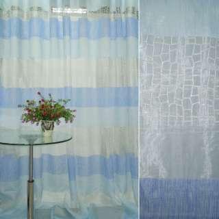 Органза Деваре в бело+синие+голубые полоски ш.280 оптом