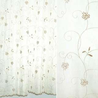 Вуаль  белая  с  коричневой  вышивкой оптом