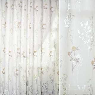 Батист деворе белый в зелено-коричневые ветки и цветы ш.280 оптом