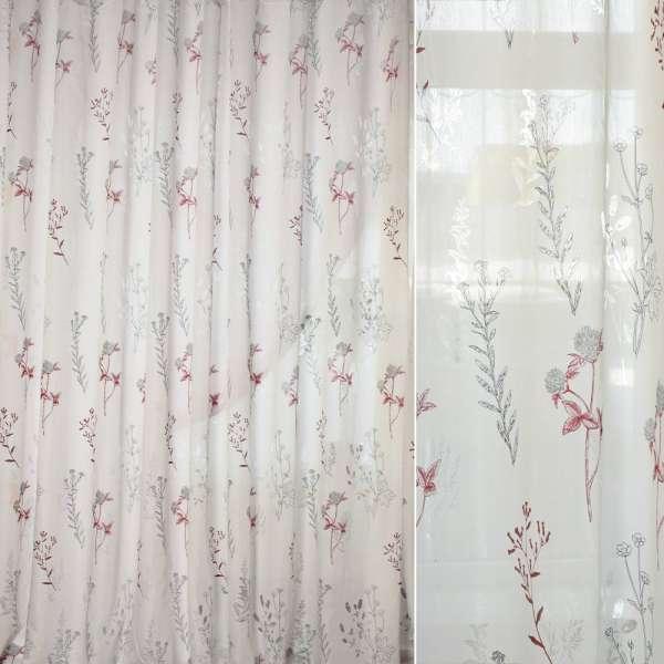 Батист деворе белый в бордово-серые ветки и цветы ш.280 оптом