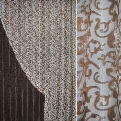Органза орари коричневая светлая с вензелями ш.280 оптом