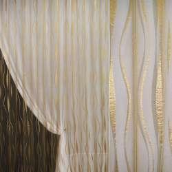 Органза орари золото темное с вьющимися полосами ш.280 оптом
