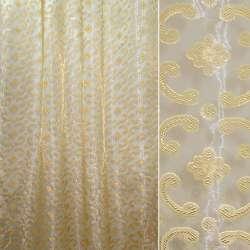 Органза орари золотистая с цветами и завитками ш.280 оптом