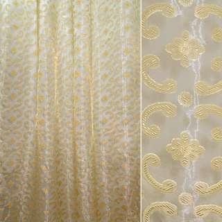 органза-орари золотист. с цветами и завитками ш.280 оптом