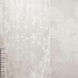 """Органза орари молочная """"цветок с листьями"""" ш.280"""