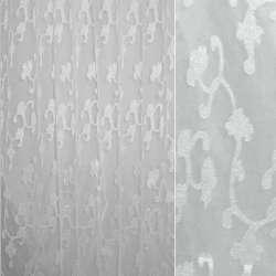 Органза орари белая в белые вьющиеся атласные цветы ш.280 оптом