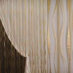 Органза орари темное золото с вьющимися полосами ш.275 оптом