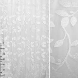 Органза орари белая с крупной атласной веткой ш.280