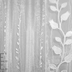Органза орари белая в серебристо-белую полоску и ветки ш.280 оптом