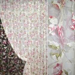 Органза орари кремовая с вишнево-белыми цветами ш.275 оптом