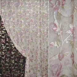 Органза орари кремовая с розово-белыми цветами ш.275 оптом