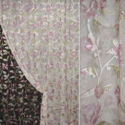 Органза орари кремовая с розово-белыми цветами ш.275