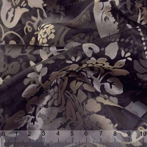Органза деворе черная в бежевый цветочный узор ш.280 оптом