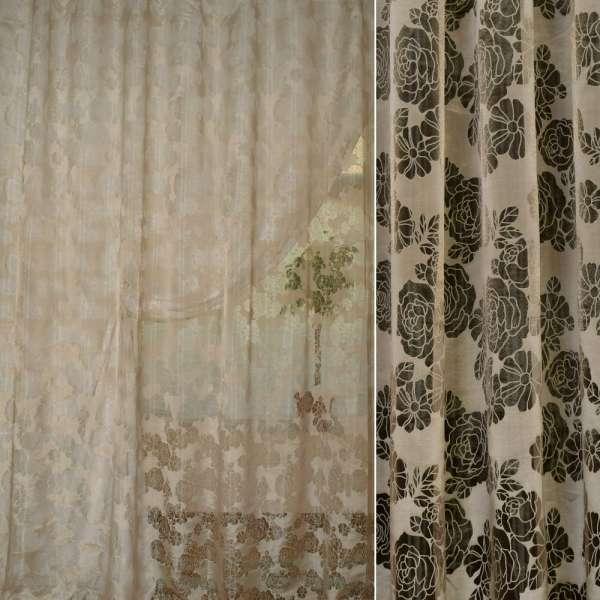 Органза деворе бежево-коричневая в ромашки и розы ш.280 оптом