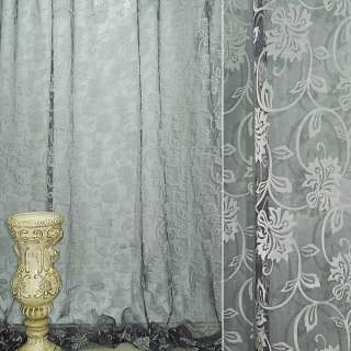 """Органза """"Деваре"""" черная с серебрист  вьющимися цветами ш.280 оптом"""