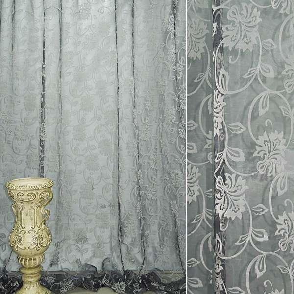 Органза деворе черная с серебристыми вьющимися цветами ш.280 оптом