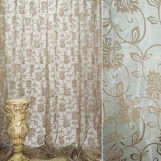 """Органза """"Деваре"""" оливково-серая с  вьющимися коричнев.цветами ш.280 оптом"""