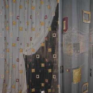Органза серая с коричневыми квадратами ш.280 оптом
