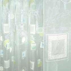 Органза деворе белая с зеленым и голубым абстрактным рисунком оптом