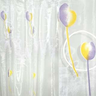 """Органза   """"Деваре""""  белая  с  фиолет. желт.  тюльпан. оптом"""