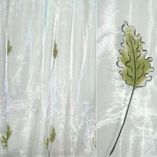 Органза деворе белая с дубовыми листьями оптом
