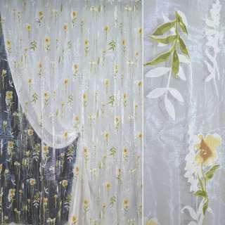 """Органза """"Деваре"""" белая с цветами и листьями ш.270 оптом"""