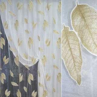 """Органза """"Деваре"""" белая с коричневыми листьями ш.270 оптом"""