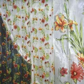 """Органза """"Деваре"""" св зелен. в красно-желтые цветы ш.270 оптом"""