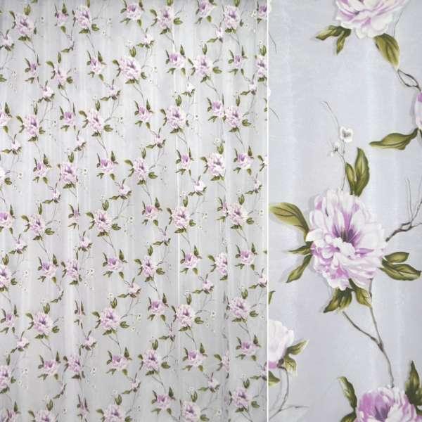 Органза деворе белая с сиренево-белыми цветами ш.270 оптом