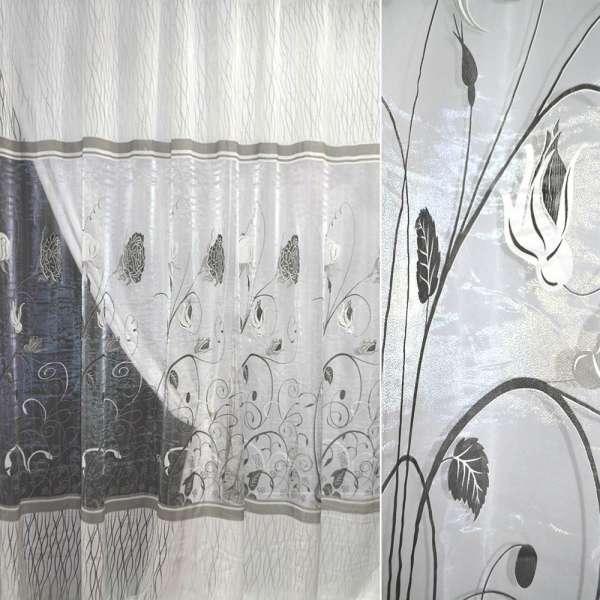 Органза деворе молочная в серые цветы и серпантин ш.270 оптом