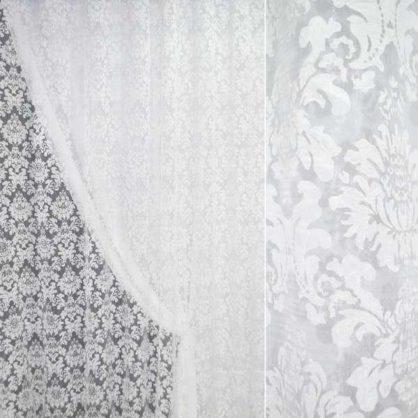 Органза деворе белая с белыми цветами ш.280 оптом