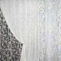 Органза деворе белая в бело-зеленые цветы ш.280 оптом