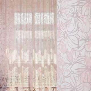 Органза деворе бело-розовая в цветочный узор, ш.280 оптом