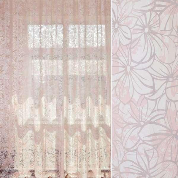 Органза деворе біло-рожева в квітковий узор, ш.280 оптом